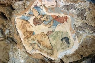 Fresco showing St Elias, Roman gymnasium, Salamis, North Cyprus.