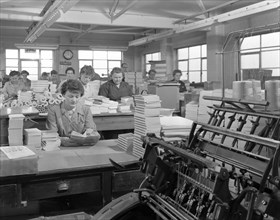 The binding room at the White Rose Press printing Co, Mexborough, South Yorkshire, 1959.  Artist: Michael Walters