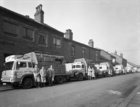Fleet of soft drinks delivery lorries, Mexborough, South Yorkshire, 1961. Artist: Michael Walters