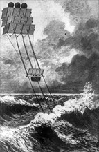 Kite-powered water transport, c1890. Artist: Unknown