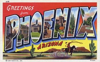'Greetings from Phoenix, Arizona', postcard, 1939. Artist: Unknown