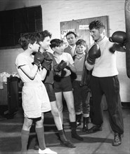 Boxing training at Horden Colliery gym, Sunderland, Tyne and Wear, 1964.  Artist: Michael Walters
