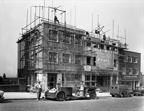 Commercial shop unit construction in Rotherham, South Yorkshire, 1962.  Artist: Michael Walters