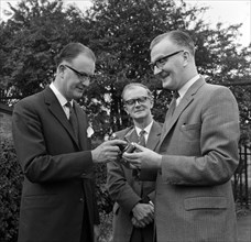 Dr Lowe of ICI being presented with a camera, Denaby Main, South Yorkshire, 1962.  Artist: Michael Walters