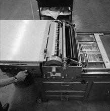 A proofing press with plates at the White Rose Press, Mexborough, South Yorkshire, 1968.  Artist: Michael Walters