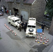 Derbyshire Police Commissioner taking delivery of two new Land Rovers, Matlock, Derbyshire, 1969. Artist: Michael Walters