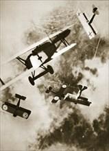 Dogfight between British and German aircraft, World War I, c1916-c1918. Artist: Unknown