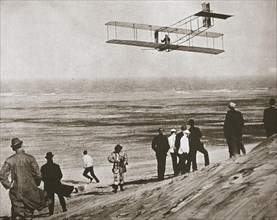 The Wright Brothers testing an early plane at Kitty Hawk, North Carolina, USA, c1903. Artist: Unknown