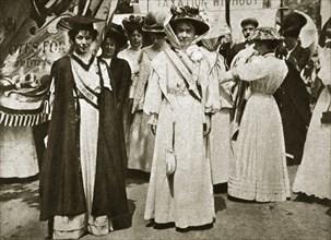 Emmeline Pethick-Lawrence and Emmeline Pankhurst, British suffragettes, 1908.  Artist: Central News