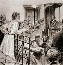 Christabel Pankhurst, British suffragette, questioning Herbert Gladstone in court, London 1909. Artist: GK Jones