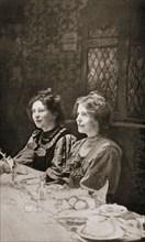 Christabel Pankhurst and Annie Kenney, British suffragettes, 1909.  Artist: GK Jones