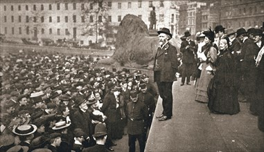 Keir Hardie addressing the first women's suffrage demonstration, London, 19 May 1906. Artist: Unknown