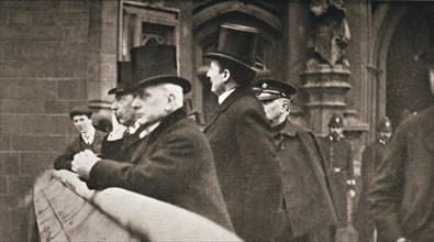 Members of both Houses watching suffragettes in Parliament Square, London, 30 June 1908. Artist: Unknown