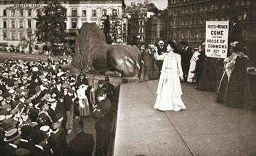 Christabel Pankhurst, British suffragette, addressing a crowd in Trafalgar Square, London, 1908. Artist: Unknown
