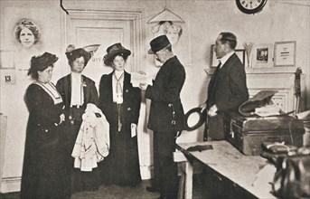 Arrest of leading suffragettes, London, 13 October 1908. Artist: Unknown