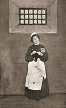 Emmeline Pankhurst, British suffragette, in a cell in Holloway Prison, London, 1908. Artist: Unknown