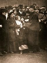 The arrest of suffragette Dora Marsden, 30 March 1909. Artist: Unknown