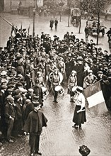The Women's Social and Political Union fife and drum band out for the first time, 13 May 1909. Artist: Unknown