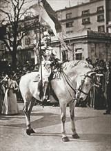 British suffragette Elsie Howey as Joan of Arc, London, 17 April 1909. Artist: Unknown