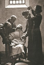 Suffragette being force fed with the nasal tube in Holloway Prison, London, 1909. Artist: Unknown