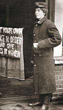Jessie Kenney, British suffragette, dressed as a telegraph boy, 10 December 1909. Artist: Unknown
