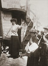 Barbara Ayrton, British suffragette, campaigning on the Votes for Women bus, October 1909. Artist: Unknown