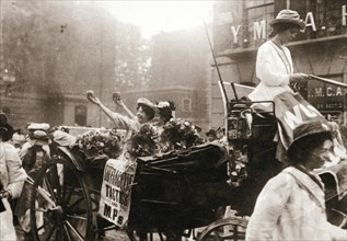 Two suffragettes celebrating their release from Holloway Prison, London, on 22 August 1908. Artist: Unknown