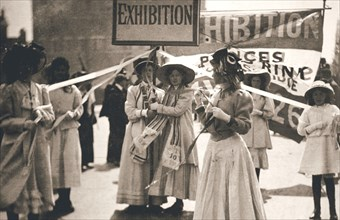 Young suffragettes promote the fortnight-long Women's Exhibition, London, 13 May 1909. Artist: Unknown
