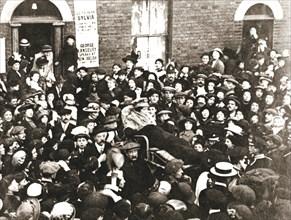 Sylvia Pankhurst, British suffragette, in a bath chair, London, June 1914. Artist: Unknown