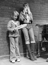 Swedish actress Britt Eklund and her daughter Victoria at London Airport after their arrival, 1972. Artist: Unknown