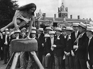 Angela Charman warms up on the set of the Nancy Kwan film, 'Tamahine', c1962. Artist: Unknown