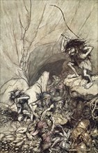'Alberich drives in a band of Nibelungs with gold and silver treasures', 1910.  Artist: Arthur Rackham