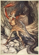 'Ohe! Ohe! Horrible dragon, O swallow me not! Spare the life of poor Loge!', 1910.  Artist: Arthur Rackham