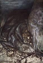 'In dragon's form Fafner now watches the hoard', 1924.  Artist: Arthur Rackham