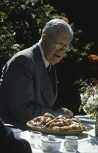 King Gustaf VI Adolf of Sweden on his yearly visit to the Summer Café, Skäret, Arild, Scania, 1973 Artist: Unknown