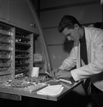 Preparing food, SAS cabin crew school, Bromma, Stockholm, Sweden, 1960. Artist: Torkel Lindeberg