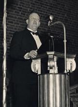 Trygve Lie, Norwegian politician, making a speech, Stockholm, Sweden, 3 March 1939. Artist: Karl Sandels