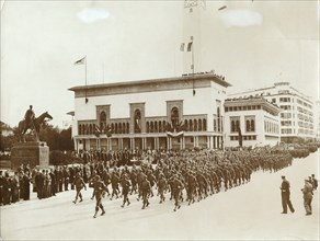 American troops parading in Casablanca, Morocco, World War II, December 1942. Artist: Unknown