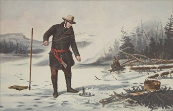 American Winter Sports - Trout Fishing on Chateaugay Lake, pub. 1856, Currier & Ives (Colour Lithogr