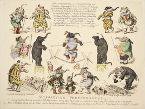Elephantine Performances, pub. C. 1854 (hand coloured etching)
