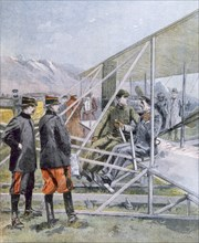 Wilbur Wright showing the King of Spain how is plane operates, from Petit Journal pub. March 1909 (c