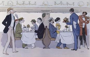 Restaurant Car on the Paris to Nice Train, pub. 1913 (colour lithograph)