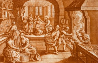 The Story of Mary and Martha, illustration from the Bible. Creator: Mattaus II Merian (1621-87).