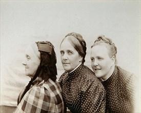 Portrait of three women, Russia, 1890s. Artist: Unknown