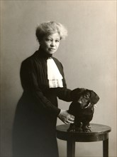 Alexandra Beketova-Blok, Russian author and translator, with her pet dog, early 19th century. Artist: Karl August Fischer