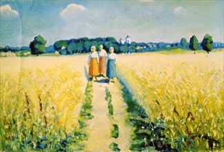 'Three Women on the Road', after 1927. Artist: Kazimir Malevich
