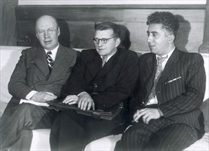 Sergei Prokofiev, Dmitri Shostakovich and Aram Khachaturian, Russian composers, 1945. Artist: Unknown