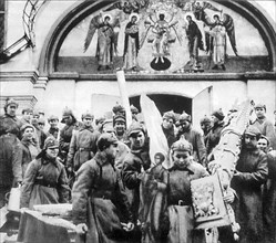 Red Army men confiscating church treasures of the Simonov monastery, Moscow, USSR, 1925. Artist: Anon