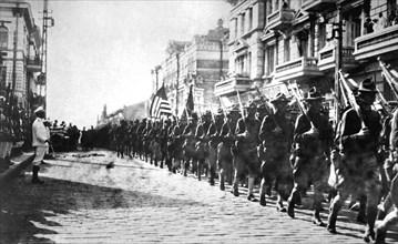 American troops parading in Vladivostok, Russia, 1918. Artist: Anon