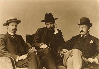 Konstantin Balmont, Sergei Poliakov and Modest Durnov, Russian poets, 1904. Artist: Unknown